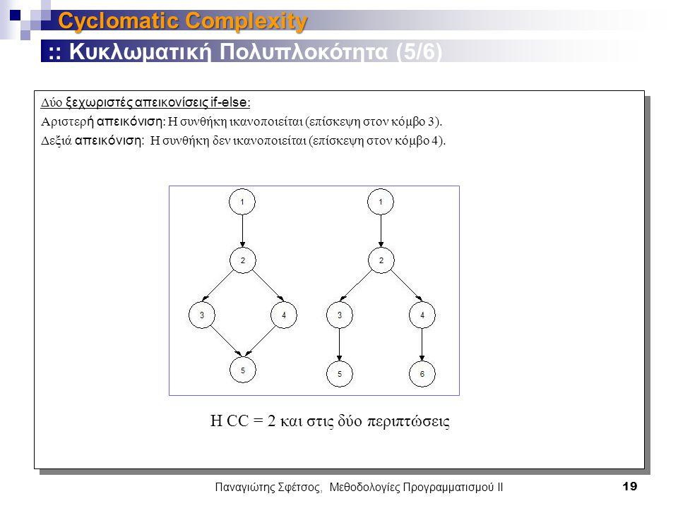 Δύο ξεχωριστές απεικονίσεις if-else : Αριστερ ή απεικόνιση : H συνθήκη ικανοποιείται (επίσκεψη στον κόμβο 3).