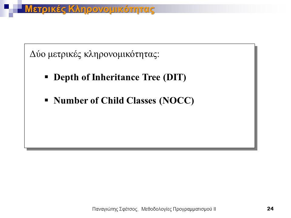 Παναγιώτης Σφέτσος, Μεθοδολογίες Προγραμματισμού ΙΙ 24 Μετρικές Κληρονομικότητας Δύο μετρικές κληρονομικότητας:  Depth of Inheritance Tree (DIT)  Number of Child Classes (NOCC)