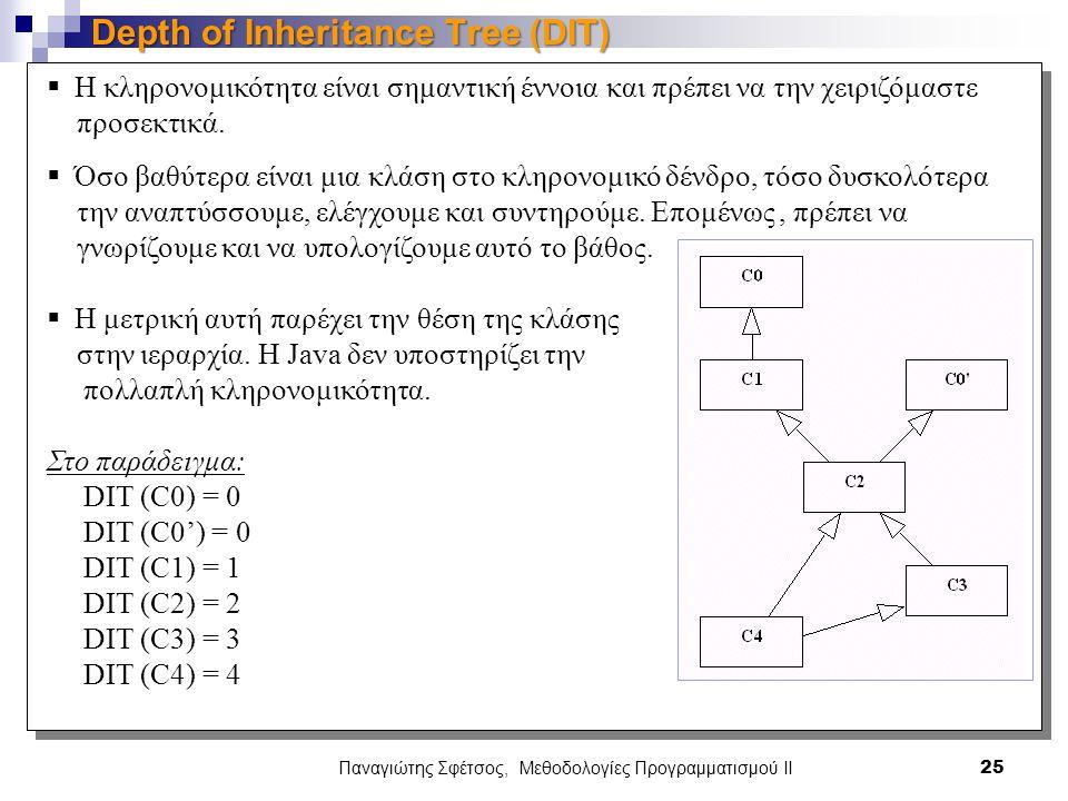 Παναγιώτης Σφέτσος, Μεθοδολογίες Προγραμματισμού ΙΙ 25 Depth of Inheritance Tree (DIT)  Η κληρονομικότητα είναι σημαντική έννοια και πρέπει να την χειριζόμαστε προσεκτικά.