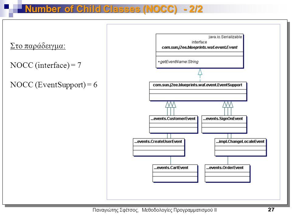 Παναγιώτης Σφέτσος, Μεθοδολογίες Προγραμματισμού ΙΙ 27 Number of Child Classes (NOCC) - 2/2 Στο παράδειγμα: NOCC (interface) = 7 NOCC (EventSupport) = 6