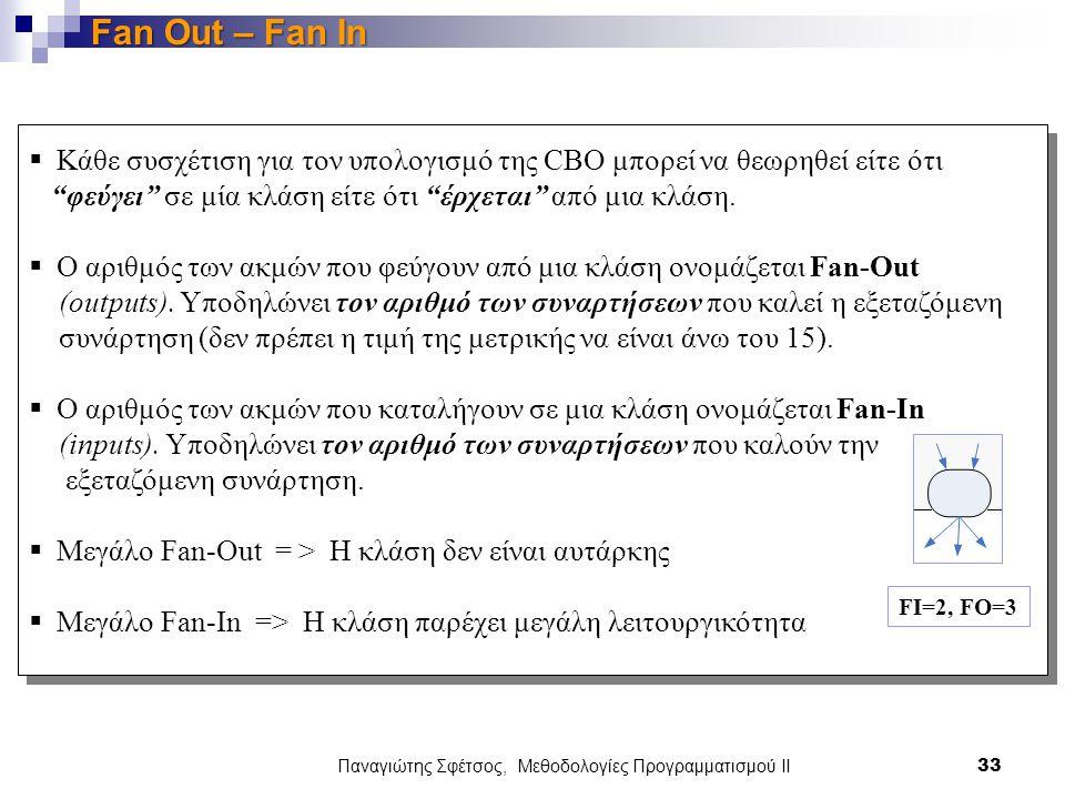 Παναγιώτης Σφέτσος, Μεθοδολογίες Προγραμματισμού ΙΙ 33 Fan Out – Fan In  Κάθε συσχέτιση για τον υπολογισμό της CBO μπορεί να θεωρηθεί είτε ότι φεύγει σε μία κλάση είτε ότι έρχεται από μια κλάση.