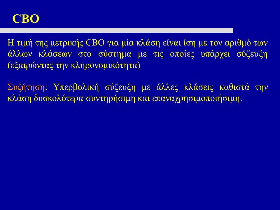 CBO Η τιμή της μετρικής CBO για μία κλάση είναι ίση με τον αριθμό των άλλων κλάσεων στο σύστημα με τις οποίες υπάρχει σύζευξη (εξαιρώντας την κληρονομ
