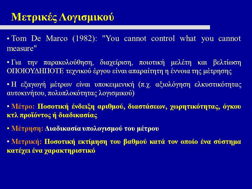 Μετρικές Λογισμικού Τοm De Marco (1982):