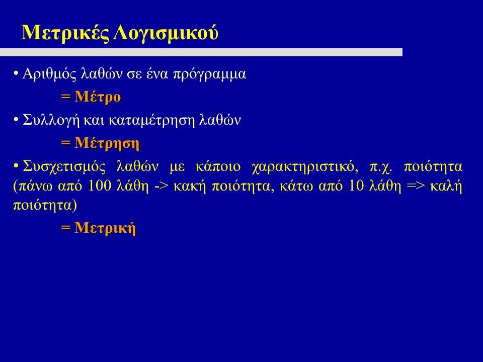 Μετρικές Λογισμικού Μετρικές Διαδικασίας (Διαδικασία: Άνθρωποι, Τεχνολογία, Προϊόν) Μετρικές Έργου (Π.χ.