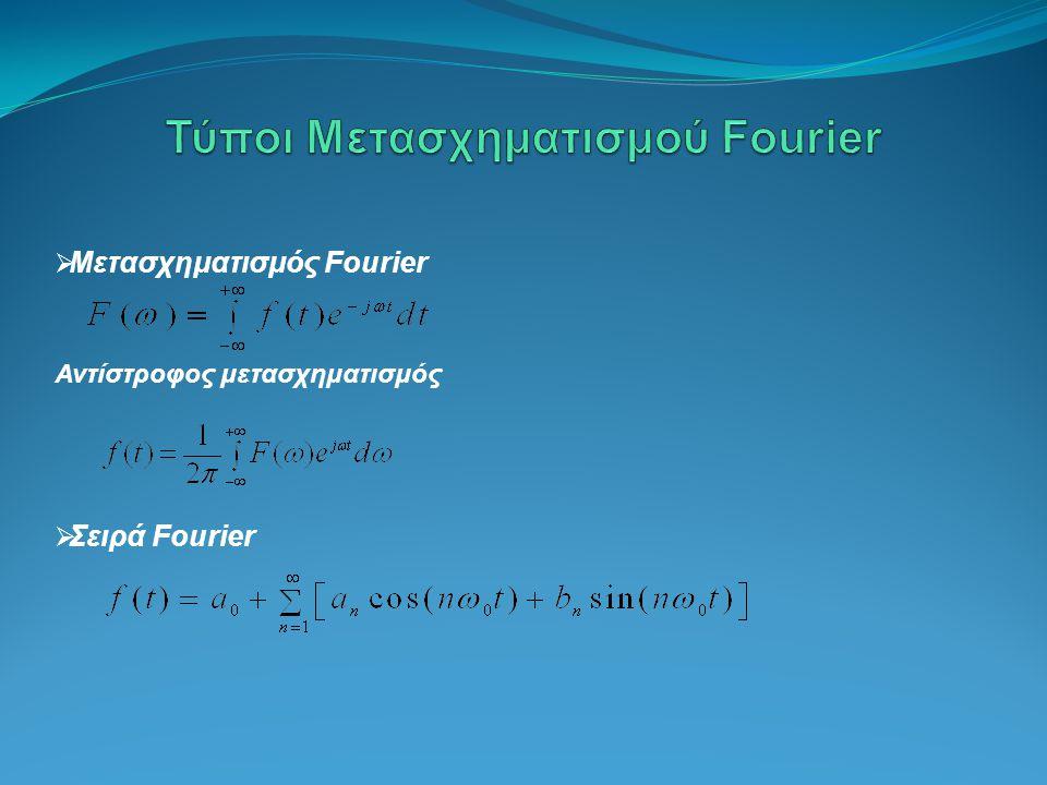  Μετασχηματισμός Fourier Αντίστροφος μετασχηματισμός  Σειρά Fourier