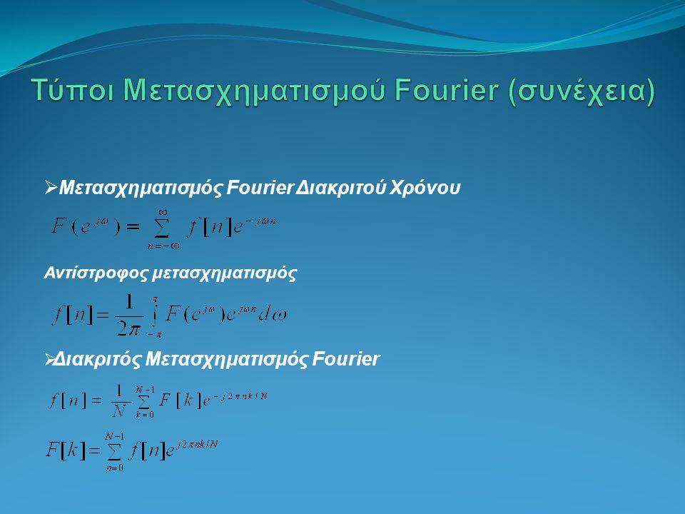 Μετασχηματισμός Fourier Διακριτού Χρόνου Αντίστροφος μετασχηματισμός  Διακριτός Μετασχηματισμός Fourier