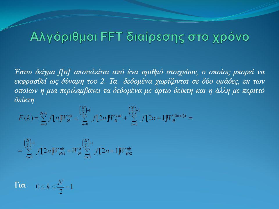 Έστω δείγμα f[n] αποτελείται από ένα αριθμό στοιχείων, ο οποίος μπορεί να εκφρασθεί ως δύναμη του 2.