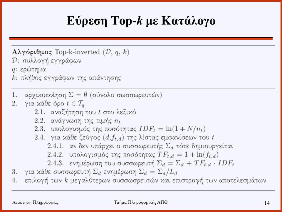 Ανάκτηση ΠληροφορίαςΤμήμα Πληροφορικής ΑΠΘ 14 Εύρεση Top-k με Κατάλογο