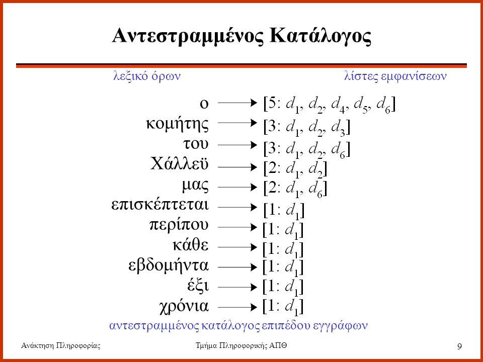 Ανάκτηση ΠληροφορίαςΤμήμα Πληροφορικής ΑΠΘ 50 Συμπίεση Golomb Η τιμή p είναι συνήθως κατά πολύ μικρότερη της μονάδας, οπότε μπορεί να χρησιμοποιηθεί ο ακόλουθος προσεγγιστικός τύπος για την τιμή του b.