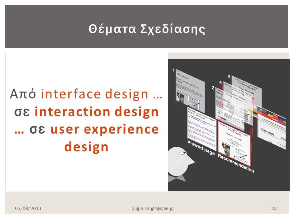 03/09/2013Τμήμα Πληροφορικής 23 Θέματα Σχεδίασης Από interface design … σε interaction design … σε user experience design