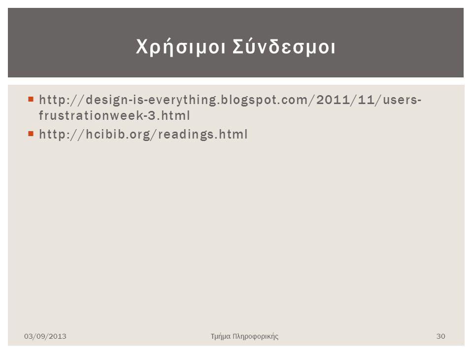  http://design-is-everything.blogspot.com/2011/11/users- frustrationweek-3.html  http://hcibib.org/readings.html 03/09/2013Τμήμα Πληροφορικής 30 Χρήσιμοι Σύνδεσμοι