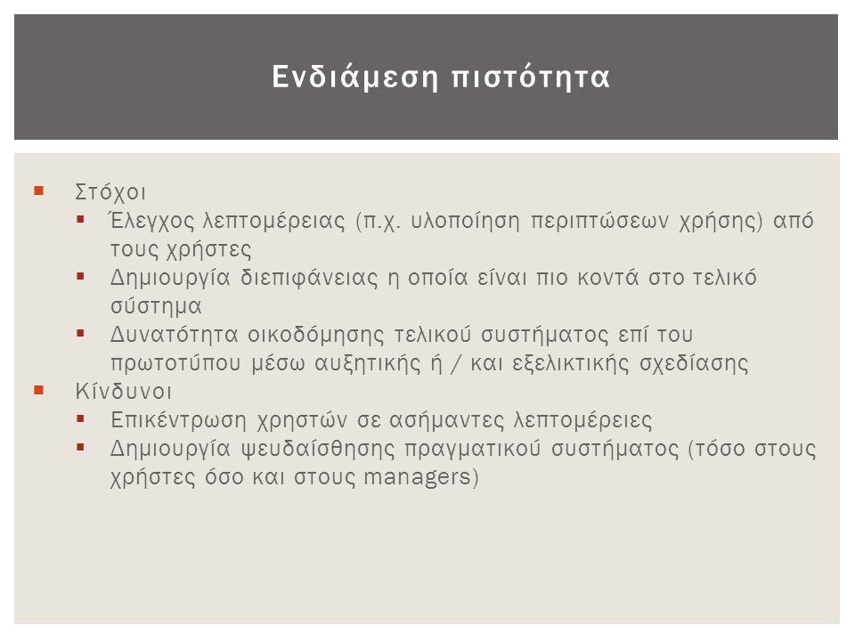 Ενδιάμεση πιστότητα  Στόχοι  Έλεγχος λεπτομέρειας (π.χ. υλοποίηση περιπτώσεων χρήσης) από τους χρήστες  Δημιουργία διεπιφάνειας η οποία είναι πιο κ