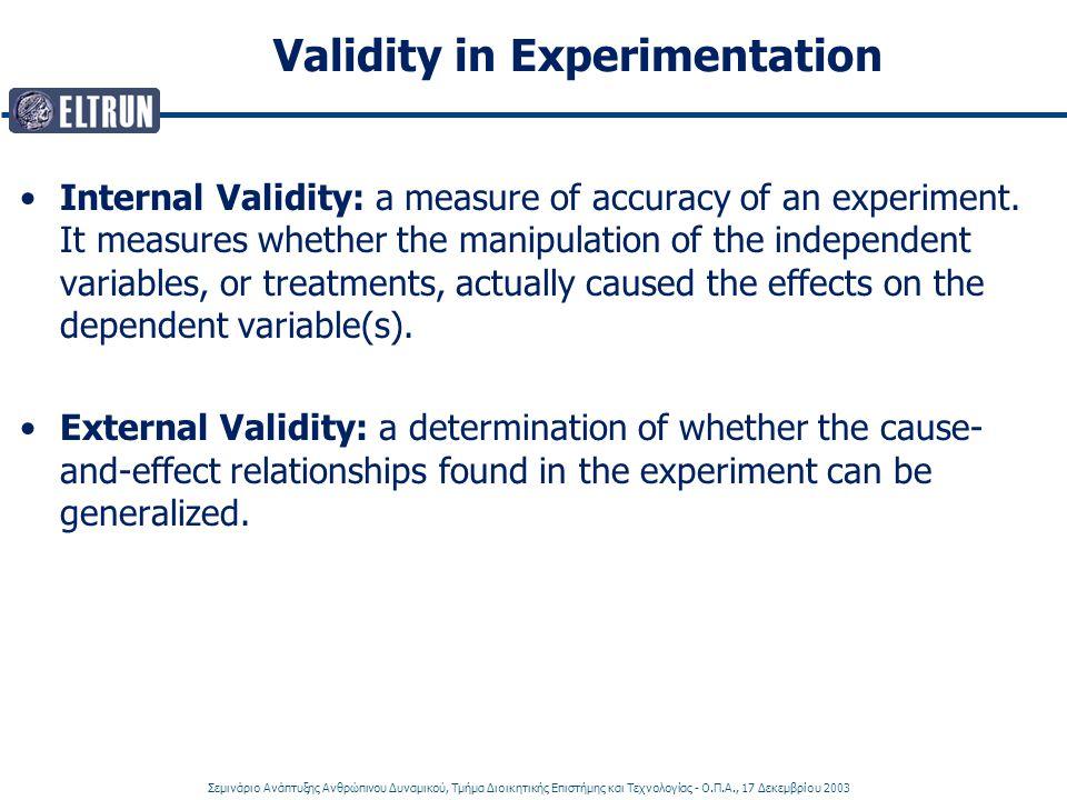 Σεμινάριο Ανάπτυξης Ανθρώπινου Δυναμικού, Τμήμα Διοικητικής Επιστήμης και Τεχνολογίας - Ο.Π.Α., 17 Δεκεμβρίου 2003 Validity in Experimentation Internal Validity: a measure of accuracy of an experiment.