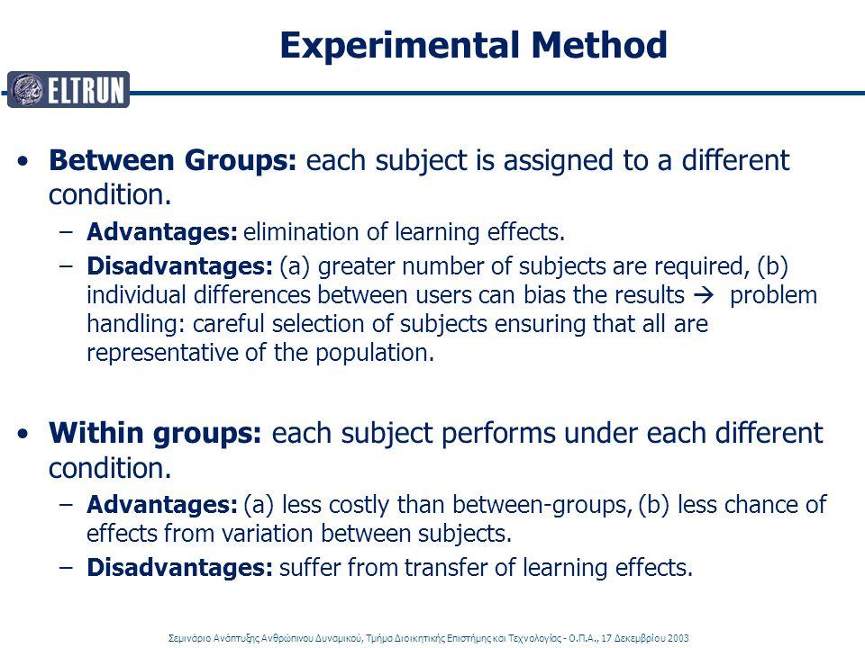 Σεμινάριο Ανάπτυξης Ανθρώπινου Δυναμικού, Τμήμα Διοικητικής Επιστήμης και Τεχνολογίας - Ο.Π.Α., 17 Δεκεμβρίου 2003 Experimental Method Between Groups: each subject is assigned to a different condition.