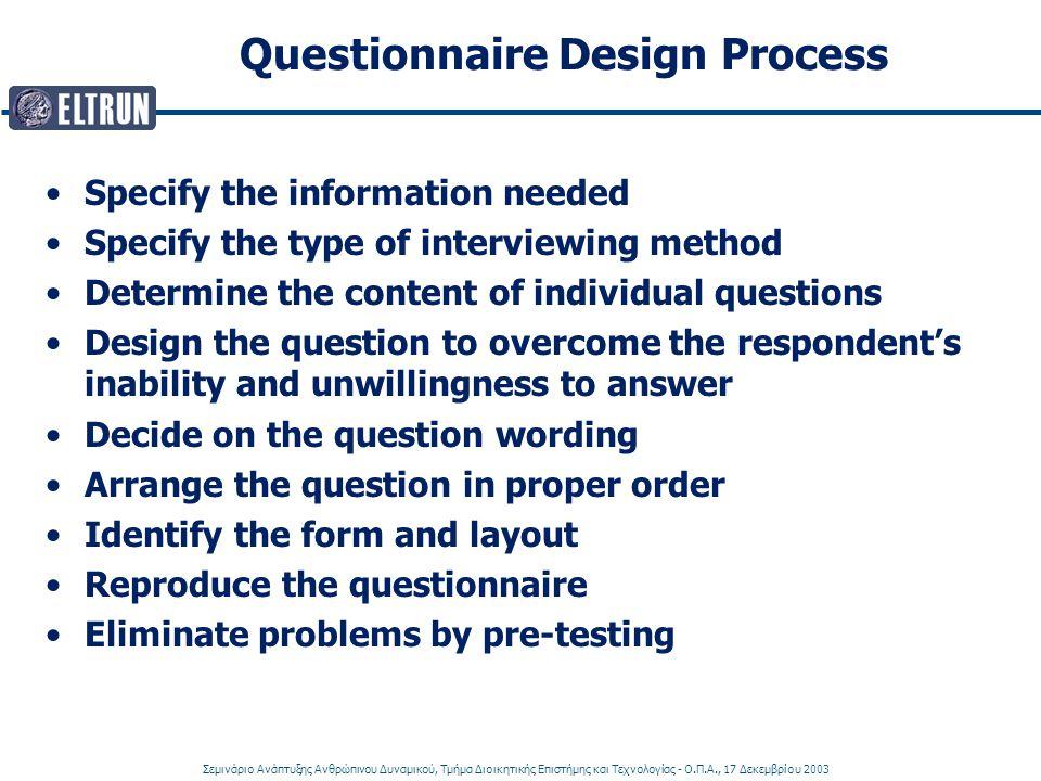 Σεμινάριο Ανάπτυξης Ανθρώπινου Δυναμικού, Τμήμα Διοικητικής Επιστήμης και Τεχνολογίας - Ο.Π.Α., 17 Δεκεμβρίου 2003 Questionnaire Design Process Specif