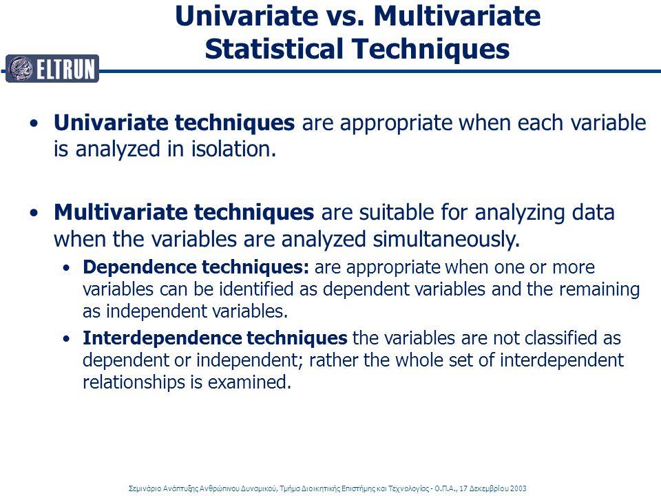 Σεμινάριο Ανάπτυξης Ανθρώπινου Δυναμικού, Τμήμα Διοικητικής Επιστήμης και Τεχνολογίας - Ο.Π.Α., 17 Δεκεμβρίου 2003 Univariate vs. Multivariate Statist