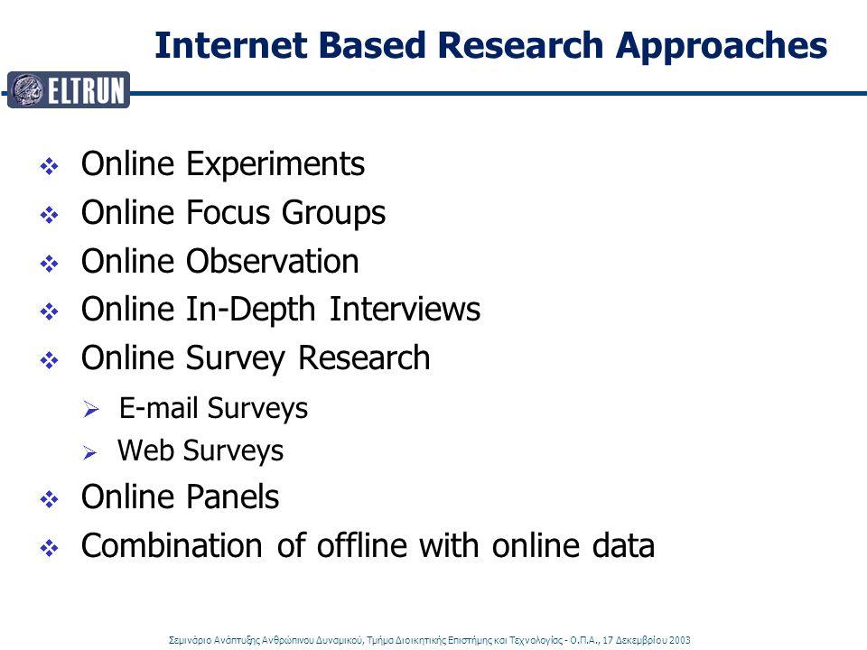 Σεμινάριο Ανάπτυξης Ανθρώπινου Δυναμικού, Τμήμα Διοικητικής Επιστήμης και Τεχνολογίας - Ο.Π.Α., 17 Δεκεμβρίου 2003 Internet Based Research Approaches