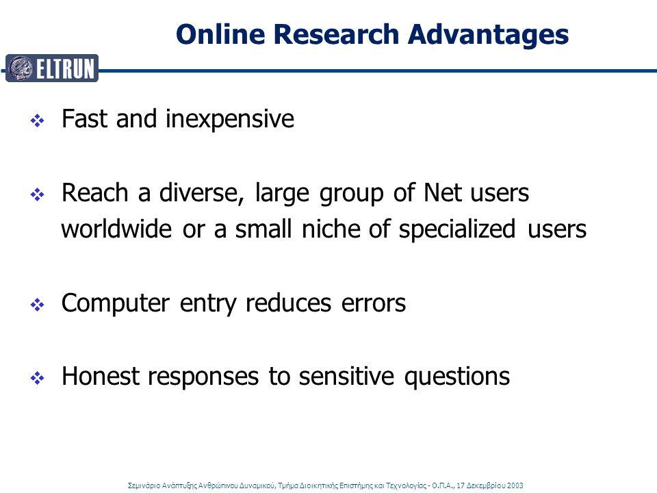 Σεμινάριο Ανάπτυξης Ανθρώπινου Δυναμικού, Τμήμα Διοικητικής Επιστήμης και Τεχνολογίας - Ο.Π.Α., 17 Δεκεμβρίου 2003 Online Research Advantages  Fast a