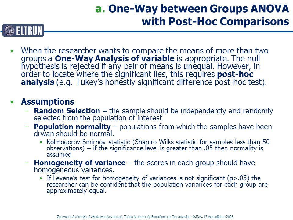Σεμινάριο Ανάπτυξης Ανθρώπινου Δυναμικού, Τμήμα Διοικητικής Επιστήμης και Τεχνολογίας - Ο.Π.Α., 17 Δεκεμβρίου 2003 a. One-Way between Groups ANOVA wit