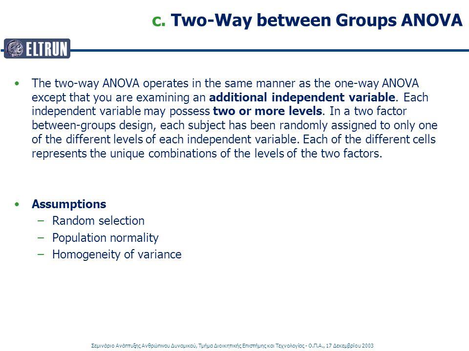 Σεμινάριο Ανάπτυξης Ανθρώπινου Δυναμικού, Τμήμα Διοικητικής Επιστήμης και Τεχνολογίας - Ο.Π.Α., 17 Δεκεμβρίου 2003 c. Two-Way between Groups ANOVA The