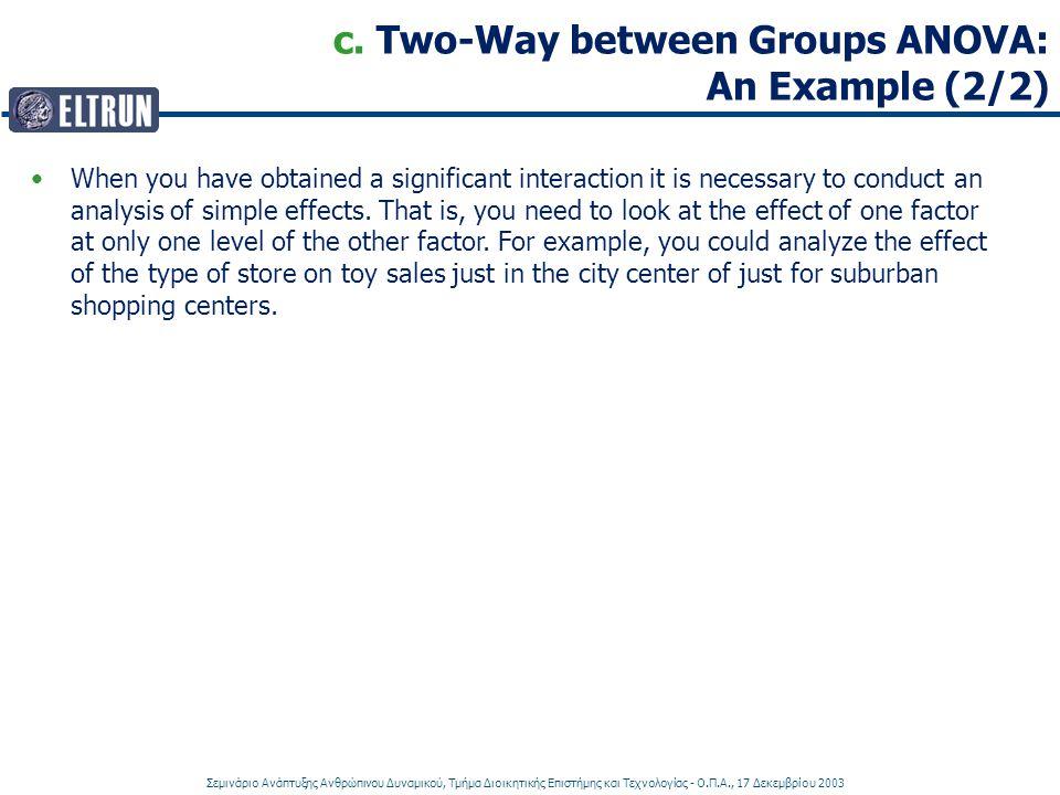Σεμινάριο Ανάπτυξης Ανθρώπινου Δυναμικού, Τμήμα Διοικητικής Επιστήμης και Τεχνολογίας - Ο.Π.Α., 17 Δεκεμβρίου 2003 c. Two-Way between Groups ANOVA: An