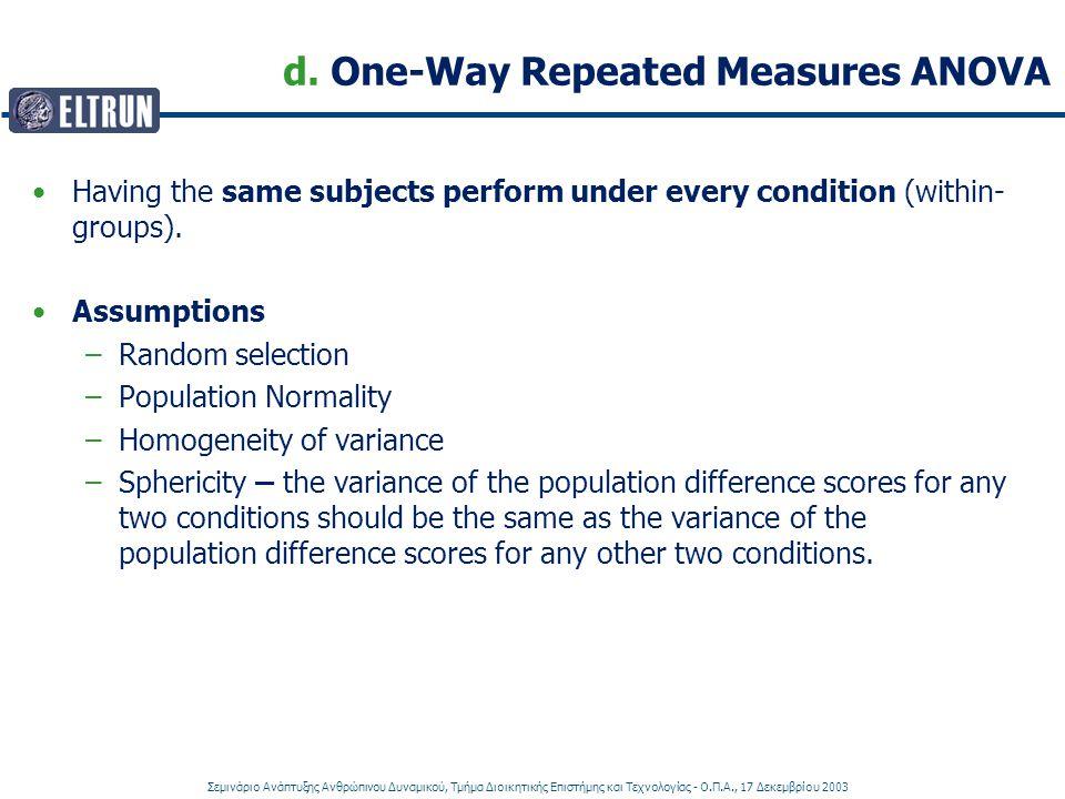 Σεμινάριο Ανάπτυξης Ανθρώπινου Δυναμικού, Τμήμα Διοικητικής Επιστήμης και Τεχνολογίας - Ο.Π.Α., 17 Δεκεμβρίου 2003 d. One-Way Repeated Measures ANOVA