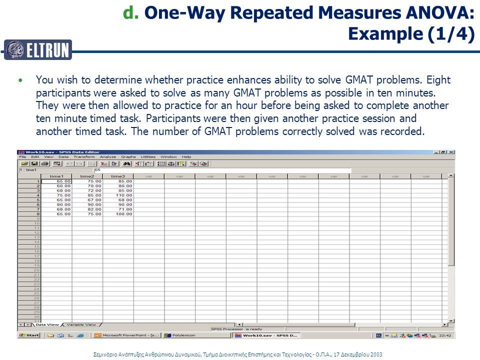Σεμινάριο Ανάπτυξης Ανθρώπινου Δυναμικού, Τμήμα Διοικητικής Επιστήμης και Τεχνολογίας - Ο.Π.Α., 17 Δεκεμβρίου 2003 d. One-Way Repeated Measures ANOVA: