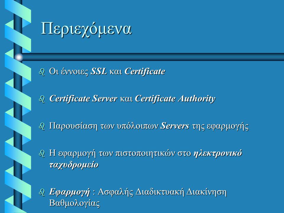 Περιεχόμενα  Οι έννοιες SSL και Certificate  Certificate Server και Certificate Authority  Παρουσίαση των υπόλοιπων Servers της εφαρμογής b Η εφαρμογή των πιστοποιητικών στο ηλεκτρονικό ταχυδρομείο b Εφαρμογή : Ασφαλής Διαδικτυακή Διακίνηση Βαθμολογίας