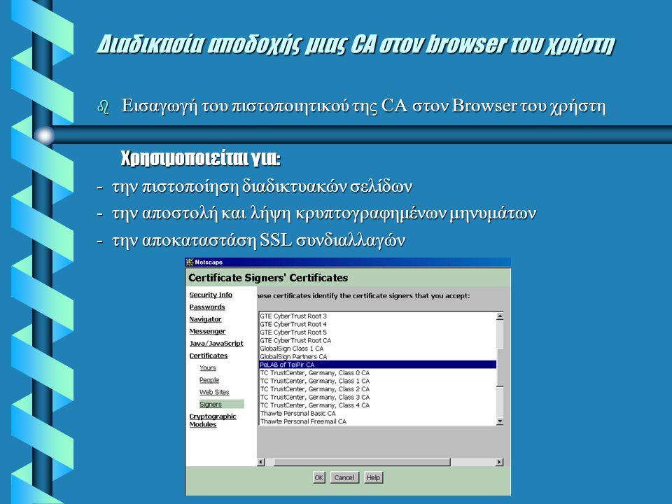 Διαδικασία αποδοχής μιας CA στον browser του χρήστη  Εισαγωγή του πιστοποιητικού της CA στον Browser του χρήστη Xρησιμοποιείται για: - την πιστοποίηση διαδικτυακών σελίδων - την αποστολή και λήψη κρυπτογραφημένων μηνυμάτων - την αποκαταστάση SSL συνδιαλλαγών