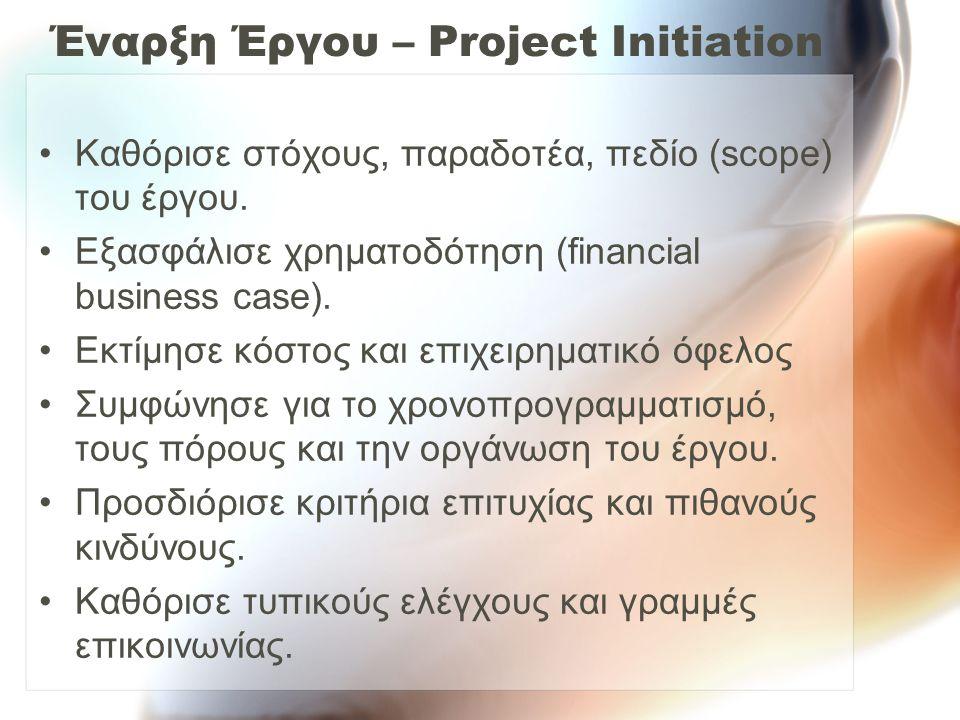 Έναρξη Έργου – Project Initiation Καθόρισε στόχους, παραδοτέα, πεδίο (scope) του έργου. Εξασφάλισε χρηματοδότηση (financial business case). Εκτίμησε κ