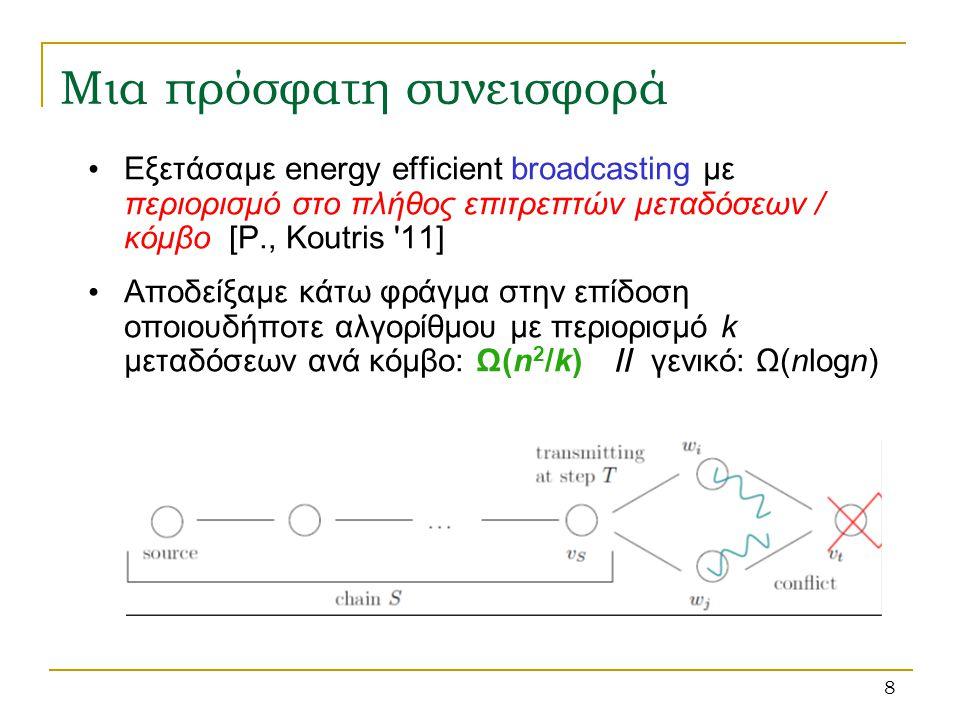 9 Δείξαμε πώς να συνδυάσουμε δύο προγενέστερους αλγορίθμους, τον Round-Robin και τον καλύτερο γνωστό πρακτικά υλοποιήσιμο αλγόριθμο για broadcasting [Chlebus et al.
