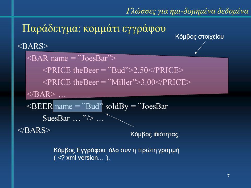 Γλώσσες για ημι-δομημένα δεδομένα 2.50 3.00 … <BEER name = Bud soldBy = JoesBar SuesBar … /> … Παράδειγμα: κομμάτι εγγράφου Κόμβος στοιχείου Κόμβος ιδιότητας Κόμβος Εγγράφου: όλο συν η πρώτη γραμμή ( <.