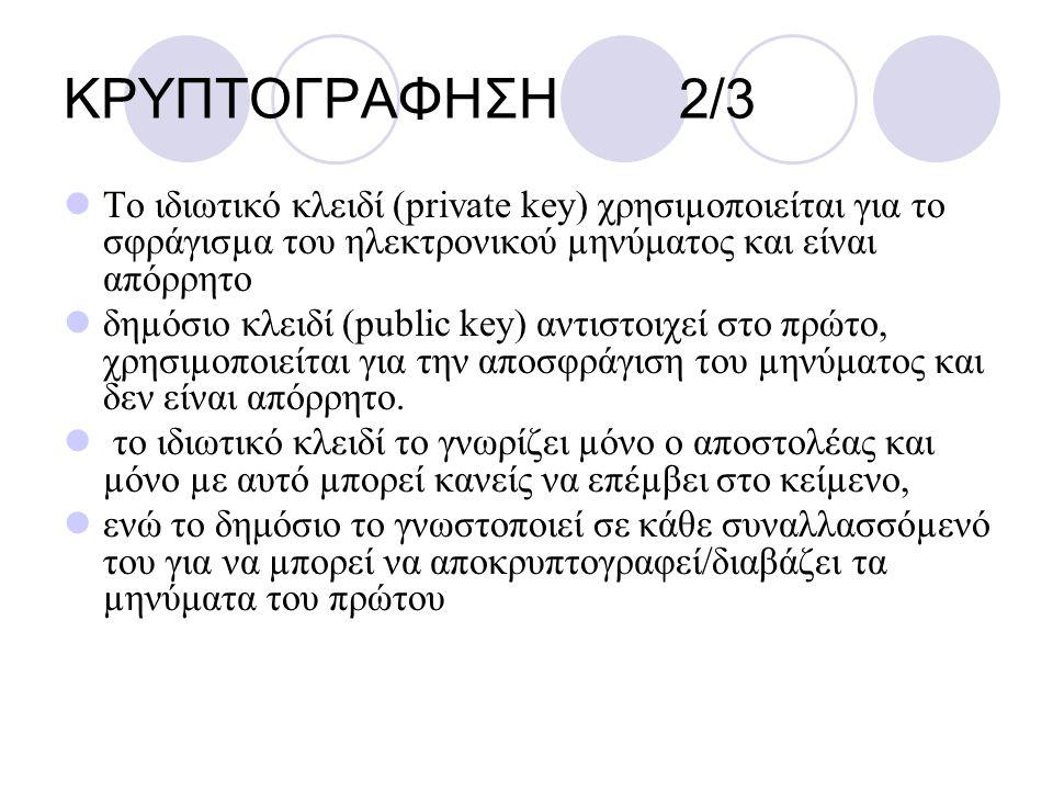 ΚΡΥΠΤΟΓΡΑΦΗΣΗ 2/3 Το ιδιωτικό κλειδί (private key) χρησιµοποιείται για το σφράγισµα του ηλεκτρονικού µηνύματος και είναι απόρρητο δηµόσιο κλειδί (publ
