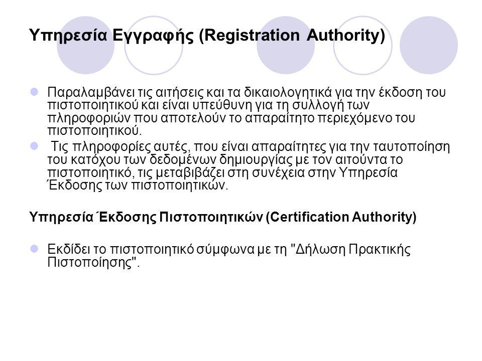 Υπηρεσία Εγγραφής (Registration Authority) Παραλαµβάνει τις αιτήσεις και τα δικαιολογητικά για την έκδοση του πιστοποιητικού και είναι υπεύθυνη για τη
