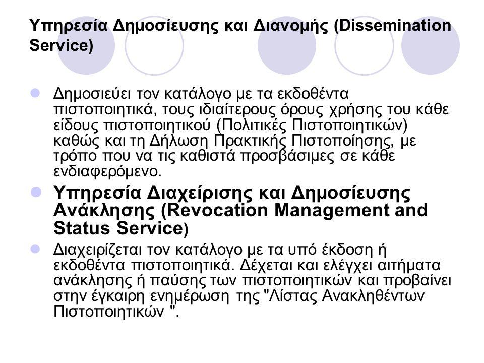 Υπηρεσία Δηµοσίευσης και Διανοµής (Dissemination Service) Δηµοσιεύει τον κατάλογο µε τα εκδοθέντα πιστοποιητικά, τους ιδιαίτερους όρους χρήσης του κάθ
