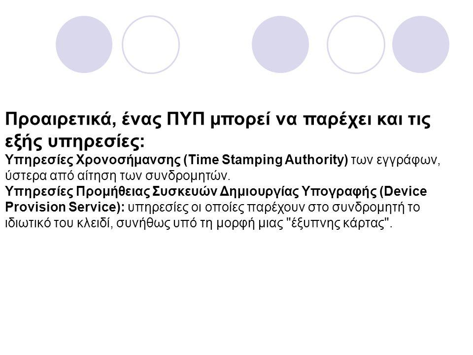 Προαιρετικά, ένας ΠΥΠ µπορεί να παρέχει και τις εξής υπηρεσίες: Υπηρεσίες Χρονοσήµανσης (Time Stamping Authority) των εγγράφων, ύστερα από αίτηση των