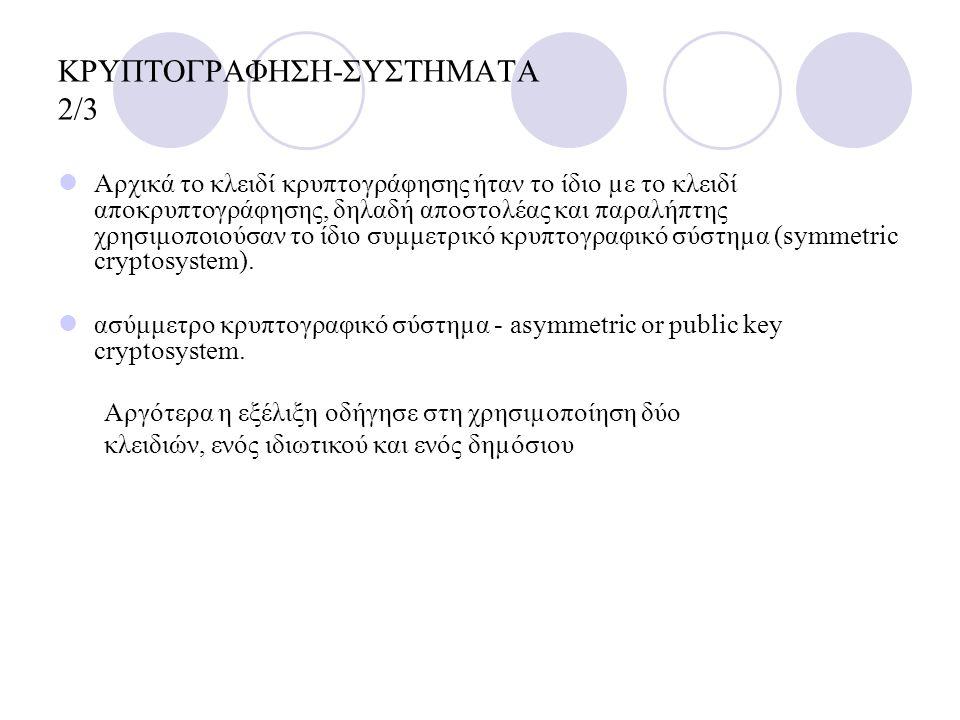 ΚΡΥΠΤΟΓΡΑΦΗΣΗ-ΣΥΣΤΗΜΑΤΑ 2/3 Αρχικά το κλειδί κρυπτογράφησης ήταν το ίδιο µε το κλειδί αποκρυπτογράφησης, δηλαδή αποστολέας και παραλήπτης χρησιμοποιού