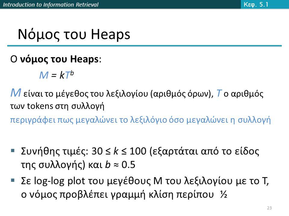 Introduction to Information Retrieval Ο νόμος του Heaps: M = kT b M είναι το μέγεθος του λεξιλογίου (αριθμός όρων), T ο αριθμός των tokens στη συλλογή