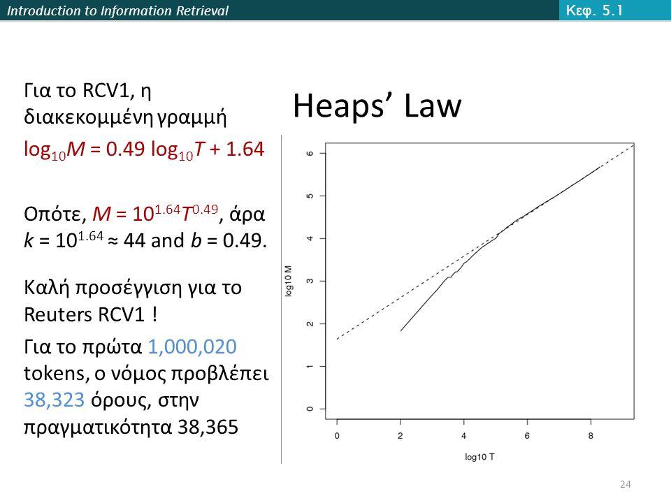 Introduction to Information Retrieval Heaps' Law Για το RCV1, η διακεκομμένη γραμμή log 10 M = 0.49 log 10 T + 1.64 Οπότε, M = 10 1.64 T 0.49, άρα k = 10 1.64 ≈ 44 and b = 0.49.