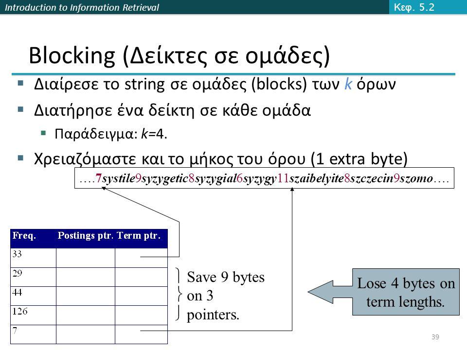 Introduction to Information Retrieval Blocking (Δείκτες σε ομάδες)  Διαίρεσε το string σε ομάδες (blocks) των k όρων  Διατήρησε ένα δείκτη σε κάθε ομάδα  Παράδειγμα: k=4.