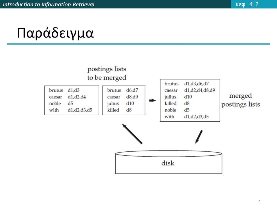 Introduction to Information Retrieval Παράλληλη κατασκευή splits Parser Master a-fg-pq-z a-fg-pq-z a-fg-pq-z Inverter Postings a-f g-p q-z assign Map phase Segment files Reduce phase Sec.
