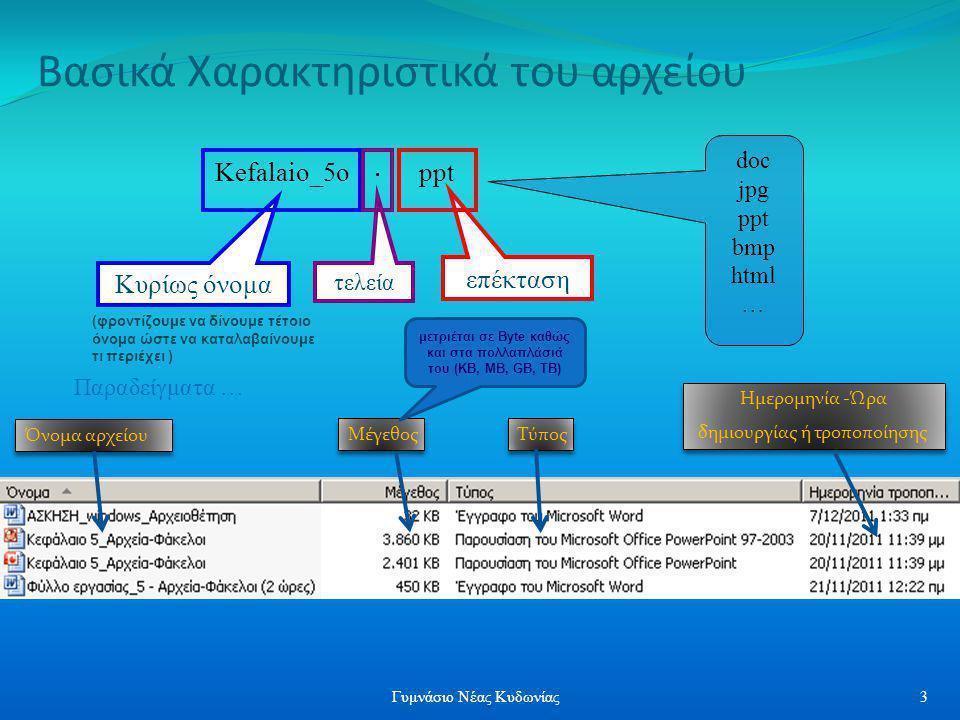 Βασικά Χαρακτηριστικά του αρχείου Όνομα αρχείου Μέγεθος Τύπος Ημερομηνία -Ώρα δημιουργίας ή τροποποίησης Ημερομηνία -Ώρα δημιουργίας ή τροποποίησης επ