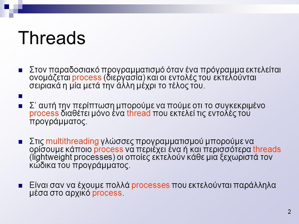 2 Στον παραδοσιακό προγραμματισμό όταν ένα πρόγραμμα εκτελείται ονομάζεται process (διεργασία) και οι εντολές του εκτελούνται σειριακά η μία μετά την άλλη μέχρι το τέλος του.