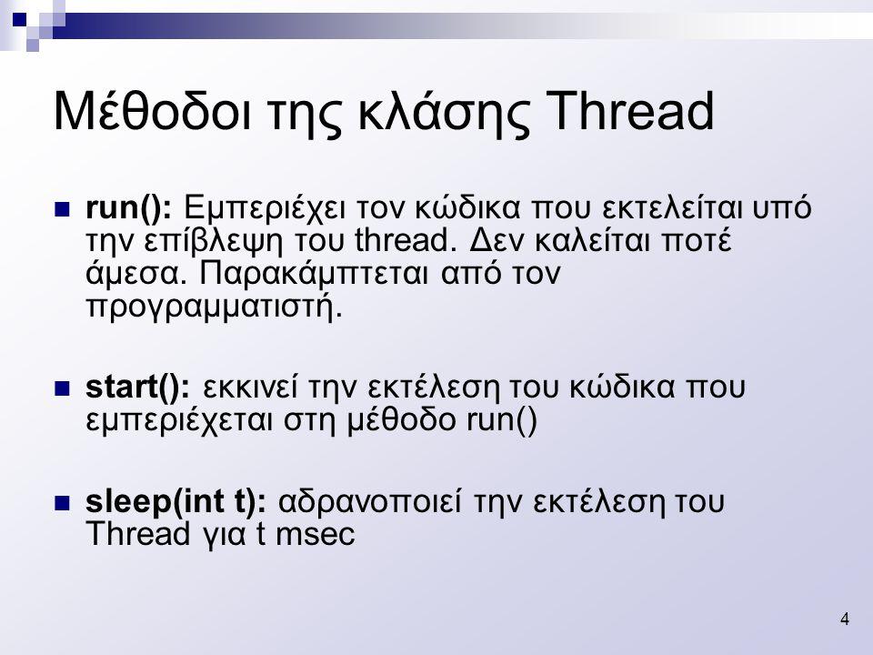 5 Υλοποίηση των Threads (α΄ Τρόπος) Παράδειγμα class SimpleThread extends Thread { public SimpleThread(String str) { super(str); //Ανάθεση ονόματος στο τρέχον // Thread } public void run() { for (int i = 0; i < 10; i++) { System.out.println(i + + getName()); try { sleep((int)(Math.random() * 1000)); } catch (InterruptedException e) {} } System.out.println( DONE.