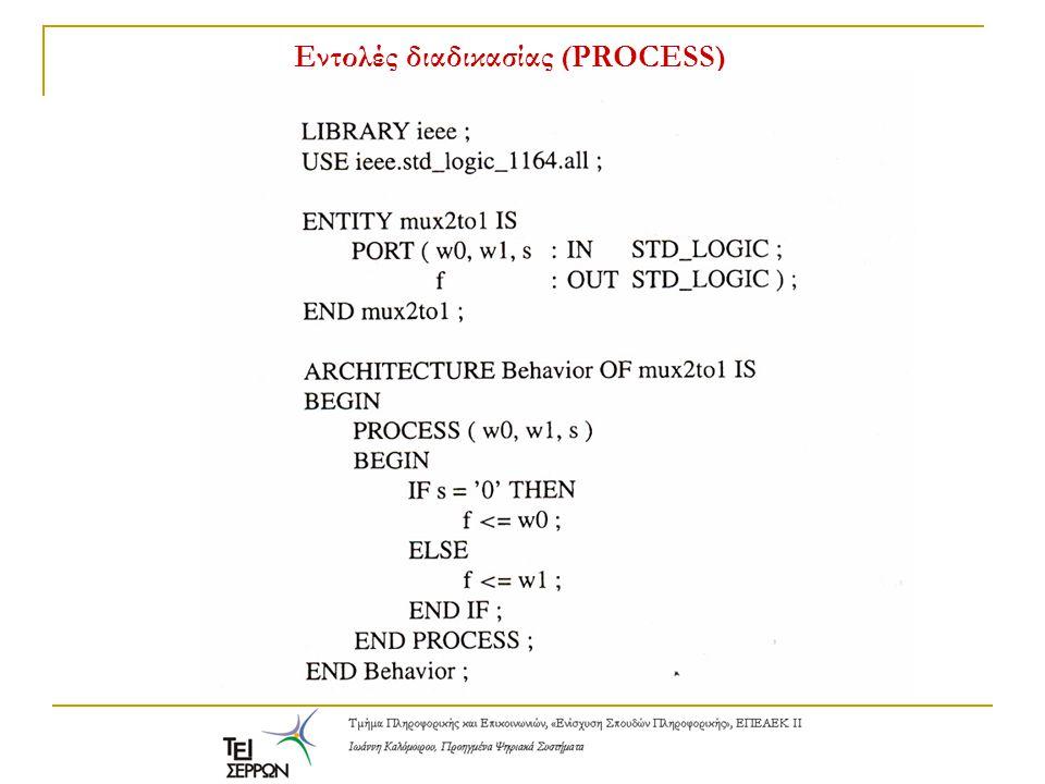 Εντολές διαδικασίας (PROCESS) Εντολές IF-THEN-ELSE