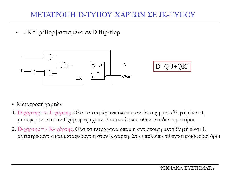 ΜΕΤΑΤΡΟΠΗ D-ΤΥΠΟΥ ΧΑΡΤΩΝ ΣΕ JK-ΤΥΠΟΥ JK flip/flop βασισμένο σε D flip/flop ΨΗΦΙΑΚΑ ΣΥΣΤΗΜΑΤΑ Μετατροπή χαρτών 1. D-χάρτης => J- χάρτης. Όλα τα τετράγω