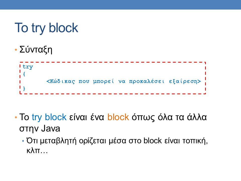 Το try block Σύνταξη Το try block είναι ένα block όπως όλα τα άλλα στην Java Ότι μεταβλητή ορίζεται μέσα στο block είναι τοπική, κλπ… try { }