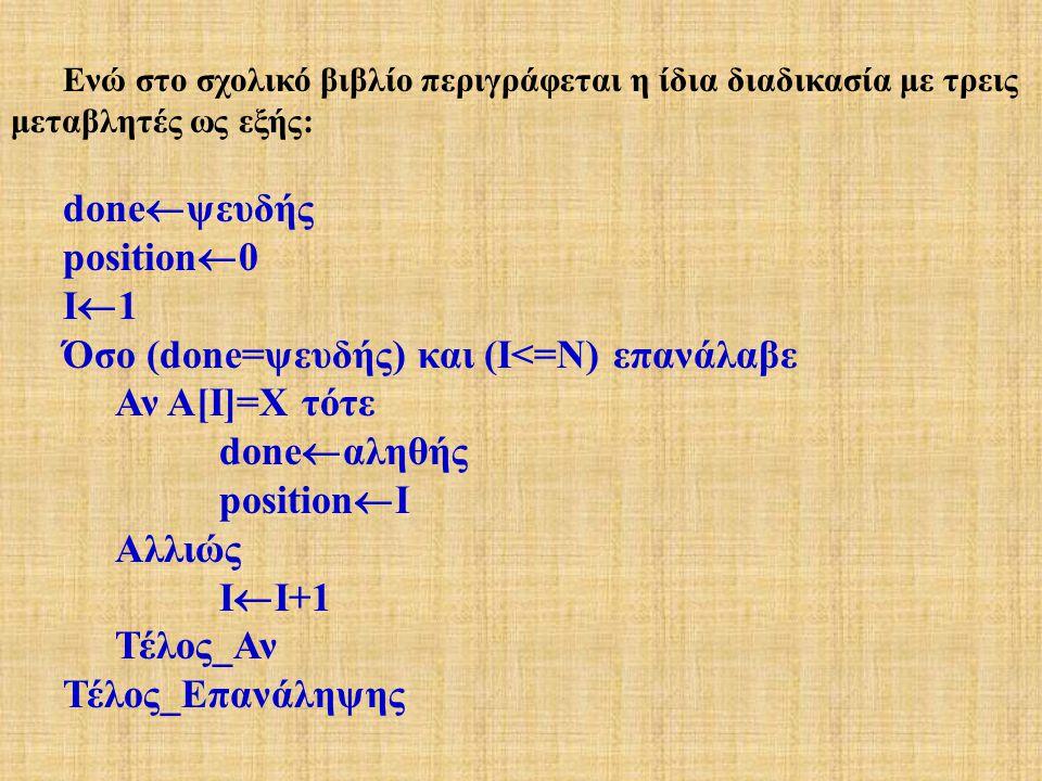 Ενώ στο σχολικό βιβλίο περιγράφεται η ίδια διαδικασία με τρεις μεταβλητές ως εξής: done  ψευδής position  0 I  1 Όσο (done=ψευδής) και (Ι<=Ν) επανάλαβε Αν Α[Ι]=Χ τότε done  αληθής position  Ι Αλλιώς Ι  Ι+1 Τέλος_Αν Τέλος_Επανάληψης