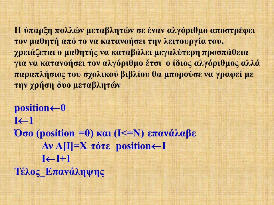 Η ύπαρξη πολλών μεταβλητών σε έναν αλγόριθμο αποστρέφει τον μαθητή από το να κατανοήσει την λειτουργία του, χρειάζεται ο μαθητής να καταβάλει μεγαλύτερη προσπάθεια για να κατανοήσει τον αλγόριθμο έτσι ο ίδιος αλγόριθμος αλλά παραπλήσιος του σχολικού βιβλίου θα μπορούσε να γραφεί με την χρήση δυο μεταβλητών position  0 I  1 Όσο (position =0) και (Ι<=Ν) επανάλαβε Αν Α[Ι]=Χ τότε position  Ι Ι  Ι+1 Τέλος_Επανάληψης