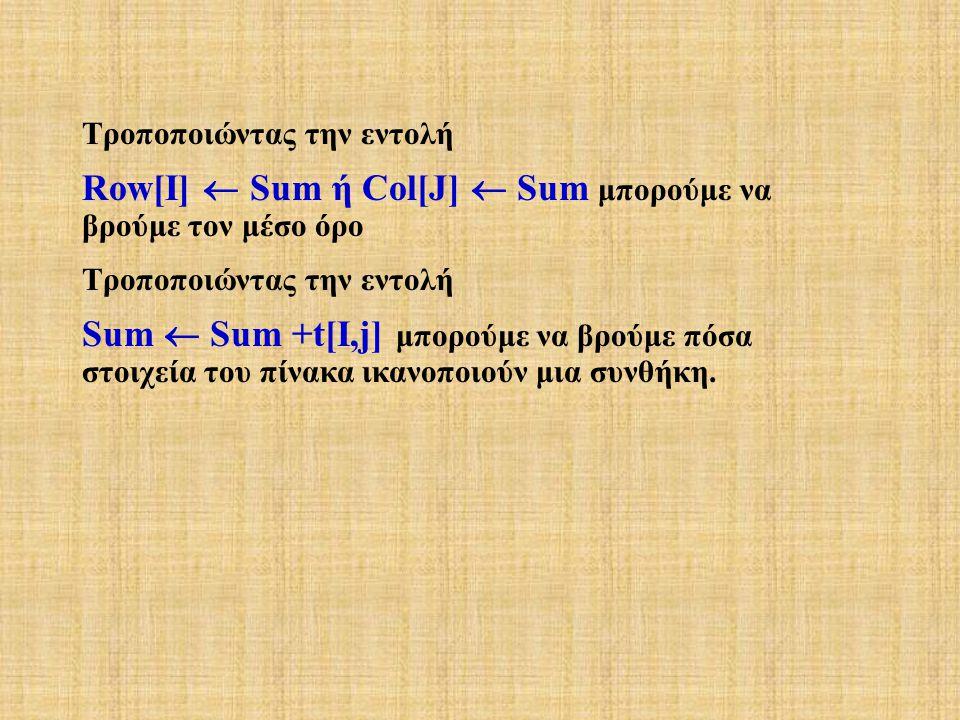 Τροποποιώντας την εντολή Row[I]  Sum ή Col[J]  Sum μπορούμε να βρούμε τον μέσο όρο Τροποποιώντας την εντολή Sum  Sum +t[I,j] μπορούμε να βρούμε πόσα στοιχεία του πίνακα ικανοποιούν μια συνθήκη.